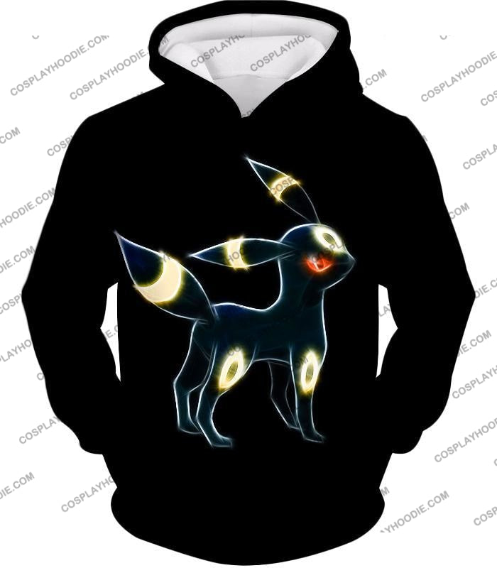 Pokemon Eevee Dark Evolution Cool Umbreon Awesome Black T-Shirt Pkm119 Hoodie / Us Xxs (Asian Xs)