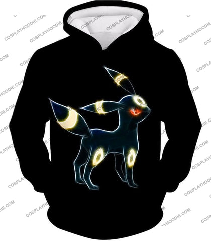 Image of Pokemon Eevee Dark Evolution Cool Umbreon Awesome Black T-Shirt Pkm119 Hoodie / Us Xxs (Asian Xs)