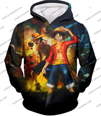 Image of One Piece Awesome Brothers Luffy And Ace Best Bond Cool T-Shirt Op119 Hoodie / Us Xxs (Asian Xs)
