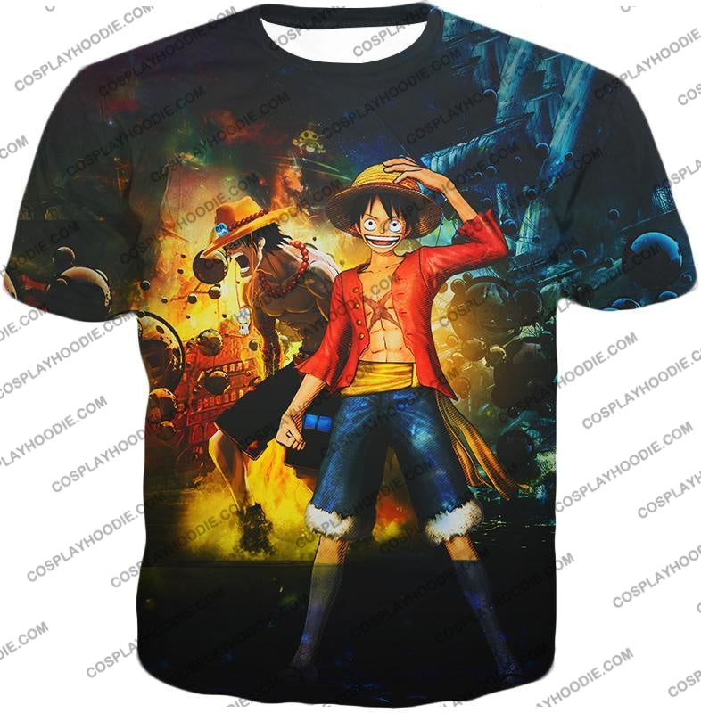 One Piece Awesome Brothers Luffy And Ace Best Bond Cool T-Shirt Op119 / Us Xxs (Asian Xs)
