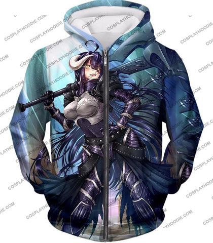 Image of Overlord Ready For Action Albedo The White Devil Cool Anime Promo T-Shirt Ol119 Zip Up Hoodie / Us