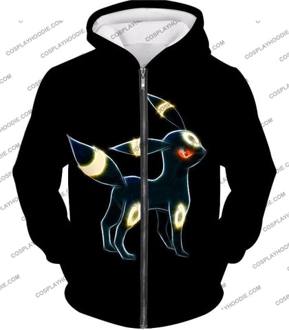 Image of Pokemon Eevee Dark Evolution Cool Umbreon Awesome Black T-Shirt Pkm119 Zip Up Hoodie / Us Xxs (Asian