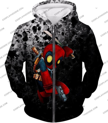 Image of Deadpool Funny Figure Promo Black T-Shirt Dp119 Zip Up Hoodie / Us Xxs (Asian Xs)