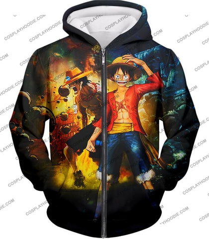 Image of One Piece Awesome Brothers Luffy And Ace Best Bond Cool T-Shirt Op119 Zip Up Hoodie / Us Xxs (Asian