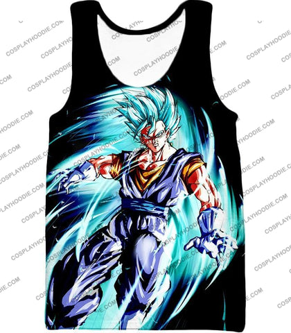 Image of Dragon Ball Super Ultimate Warrior Vegito Saiyan Blue Godly Mode Cool Black T-Shirt Dbs119 Tank Top