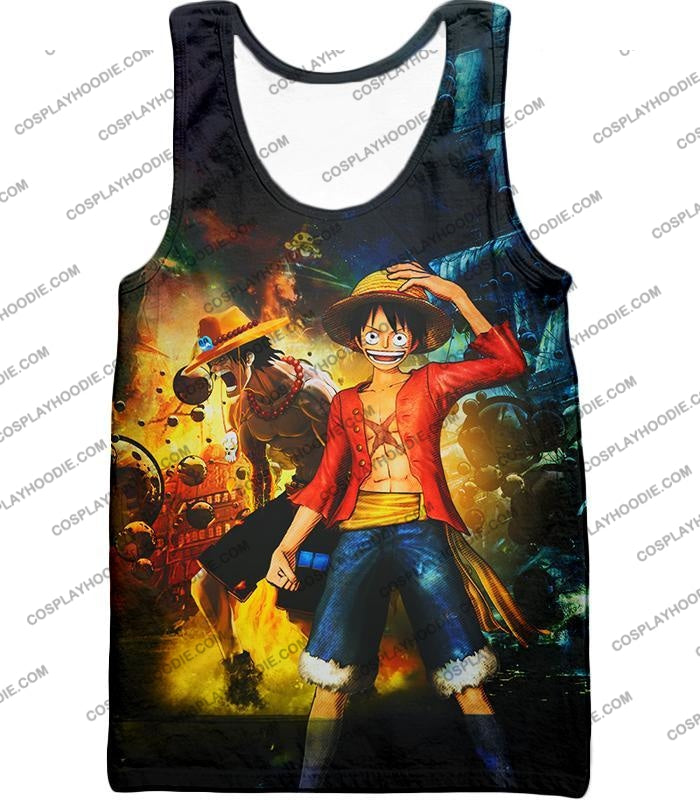 One Piece Awesome Brothers Luffy And Ace Best Bond Cool T-Shirt Op119 Tank Top / Us Xxs (Asian Xs)