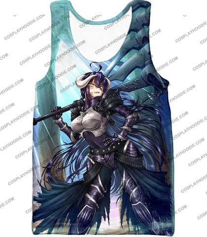 Image of Overlord Ready For Action Albedo The White Devil Cool Anime Promo T-Shirt Ol119 Tank Top / Us Xxs