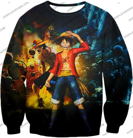 Image of One Piece Awesome Brothers Luffy And Ace Best Bond Cool T-Shirt Op119 Sweatshirt / Us Xxs (Asian Xs)