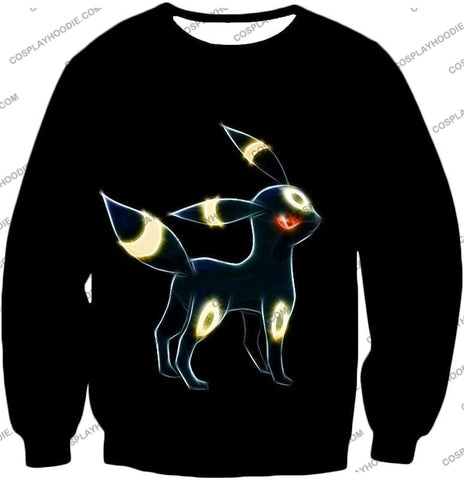 Image of Pokemon Eevee Dark Evolution Cool Umbreon Awesome Black T-Shirt Pkm119 Sweatshirt / Us Xxs (Asian