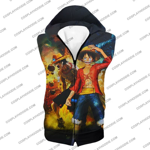 Image of One Piece Awesome Brothers Luffy And Ace Best Bond Cool T-Shirt Op119 Hooded Tank Top / Us Xxs