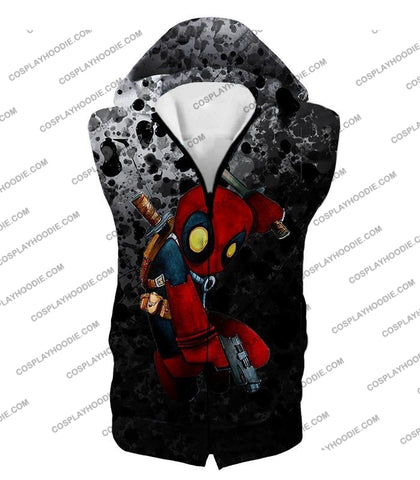 Image of Deadpool Funny Figure Promo Black T-Shirt Dp119 Hooded Tank Top / Us Xxs (Asian Xs)