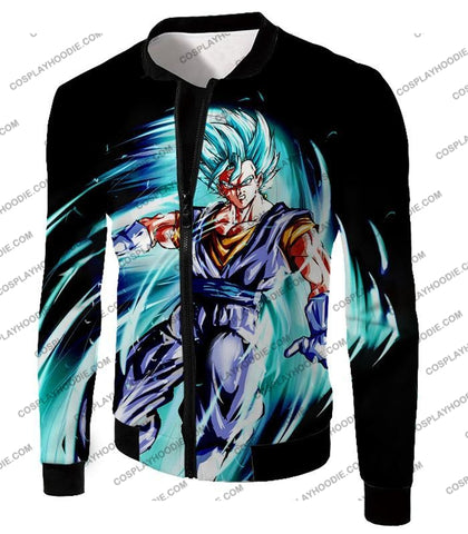 Image of Dragon Ball Super Ultimate Warrior Vegito Saiyan Blue Godly Mode Cool Black T-Shirt Dbs119 Jacket /