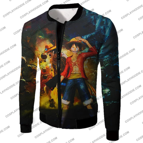 Image of One Piece Awesome Brothers Luffy And Ace Best Bond Cool T-Shirt Op119 Jacket / Us Xxs (Asian Xs)