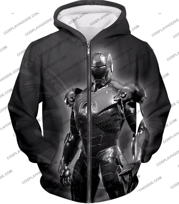 The Avengers Amazing Avenger Iron Man Black And White T-Shirt Ta012 Zip Up Hoodie / Us Xxs (Asian