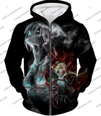 Attack On Titan Soldier Annie Leonhardt Black T-Shirt Aot012 Zip Up Hoodie / Us Xxs (Asian Xs)