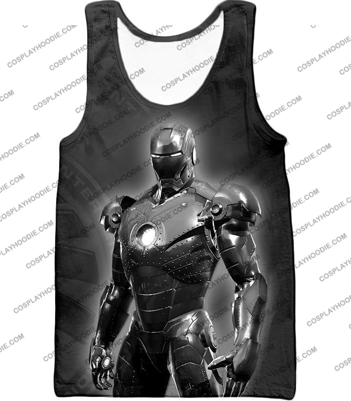 The Avengers Amazing Avenger Iron Man Black And White T-Shirt Ta012 Tank Top / Us Xxs (Asian Xs)