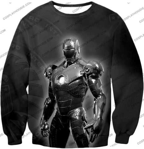 Image of The Avengers Amazing Avenger Iron Man Black And White T-Shirt Ta012 Sweatshirt / Us Xxs (Asian Xs)
