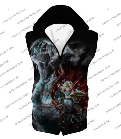 Attack On Titan Soldier Annie Leonhardt Black T-Shirt Aot012 Hooded Tank Top / Us Xxs (Asian Xs)
