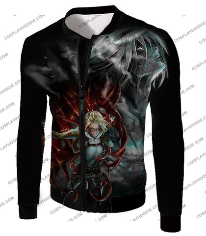 Attack On Titan Soldier Annie Leonhardt Black T-Shirt Aot012 Jacket / Us Xxs (Asian Xs)