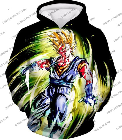 Image of Dragon Ball Super Cool Fusion Warrior Vegito Saiyan Mode Awesome Black T-Shirt Dbs120 Hoodie / Us