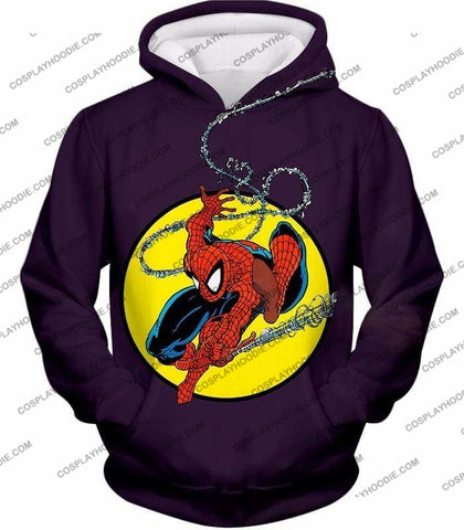Image of Web Shooting Animated Hero Spiderman Purple T-Shirt Sp122 - Hoodie / Us Xxs (Asian Xs) - T-Shirt