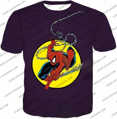 Image of Web Shooting Animated Hero Spiderman Purple T-Shirt Sp122 - T-Shirt / Us Xxs (Asian Xs) - T-Shirt