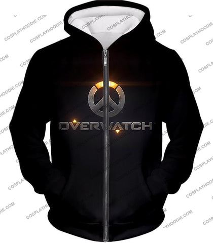 Image of Overwatch Super Cool Promo Black T-Shirt Ow122 Zip Up Hoodie / Us Xxs (Asian Xs)