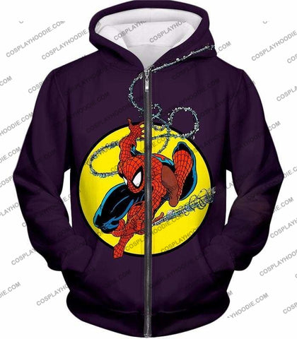 Image of Web Shooting Animated Hero Spiderman Purple T-Shirt Sp122 - Zip Up Hoodie / Us Xxs (Asian Xs) - T-Shirt