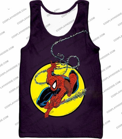 Image of Web Shooting Animated Hero Spiderman Purple T-Shirt Sp122 - Tank Top / Us Xxs (Asian Xs) - T-Shirt