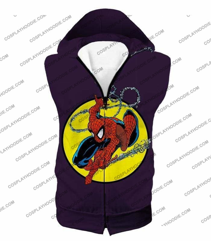 Web Shooting Animated Hero Spiderman Purple T-Shirt Sp122 - Hooded Tank Top / Us Xxs (Asian Xs) - T-Shirt