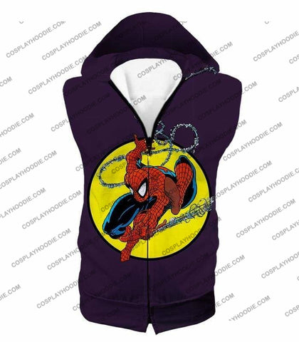 Image of Web Shooting Animated Hero Spiderman Purple T-Shirt Sp122 - Hooded Tank Top / Us Xxs (Asian Xs) - T-Shirt