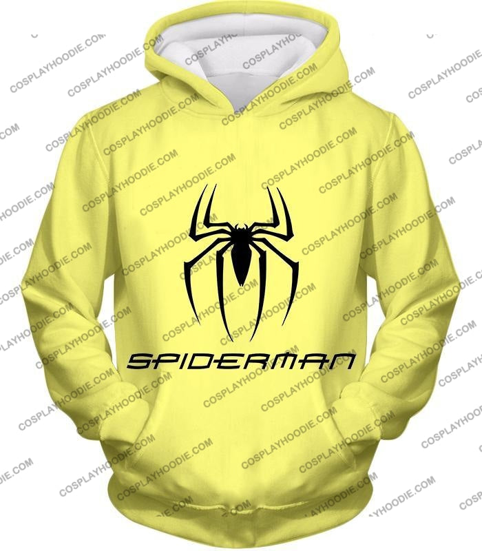 Awesome Spiderman Logo Promo Yellow T-Shirt Sp123 Hoodie / Us Xxs (Asian Xs)