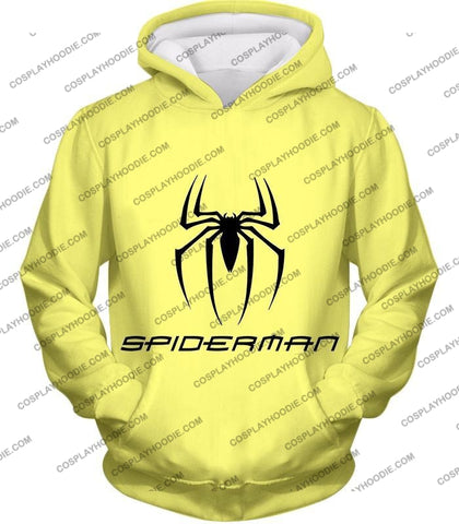 Image of Awesome Spiderman Logo Promo Yellow T-Shirt Sp123 Hoodie / Us Xxs (Asian Xs)