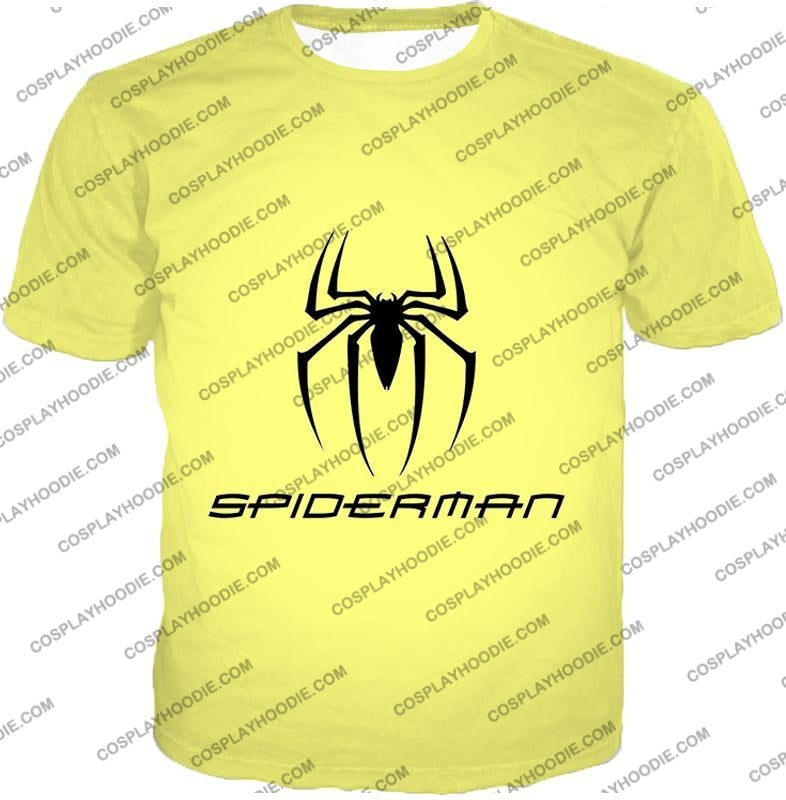 Awesome Spiderman Logo Promo Yellow T-Shirt Sp123 / Us Xxs (Asian Xs)