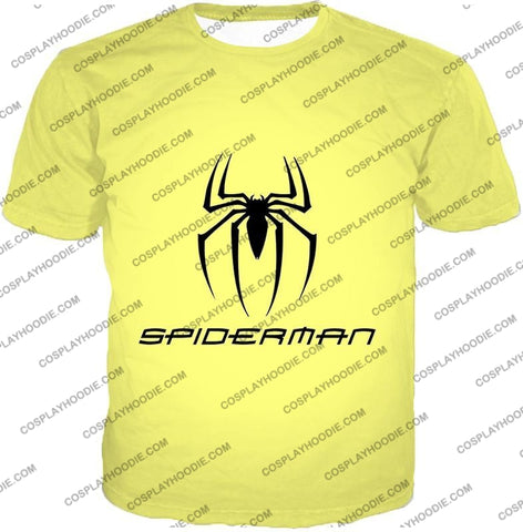 Image of Awesome Spiderman Logo Promo Yellow T-Shirt Sp123 / Us Xxs (Asian Xs)