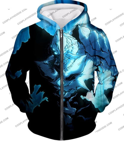 Image of Overlord Ultimate Ruler Of The Frozen Glacier Cocytus Cool Anime Promo T-Shirt Ol123 Zip Up Hoodie /