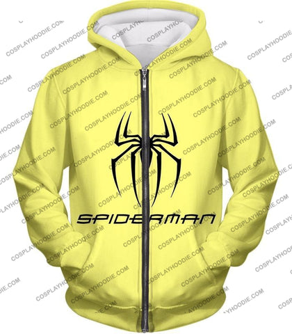 Image of Awesome Spiderman Logo Promo Yellow T-Shirt Sp123 Zip Up Hoodie / Us Xxs (Asian Xs)