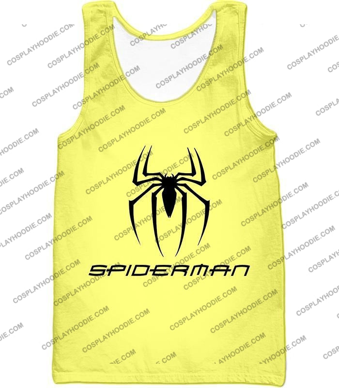 Awesome Spiderman Logo Promo Yellow T-Shirt Sp123 Tank Top / Us Xxs (Asian Xs)