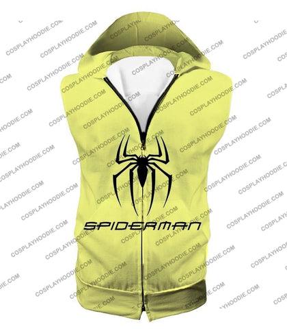 Image of Awesome Spiderman Logo Promo Yellow T-Shirt Sp123 Hooded Tank Top / Us Xxs (Asian Xs)