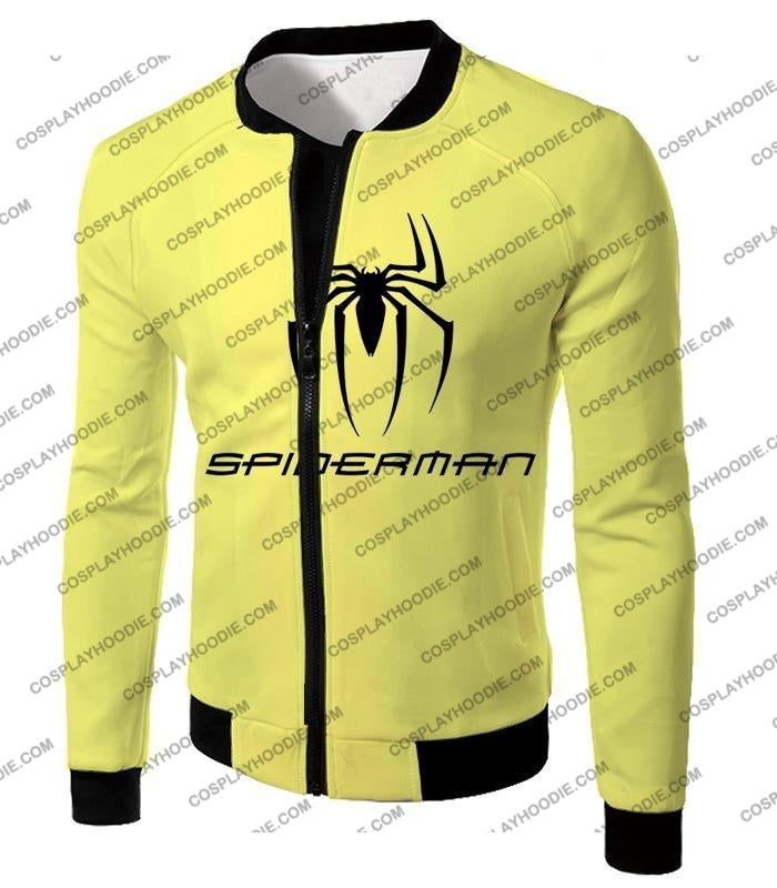 Awesome Spiderman Logo Promo Yellow T-Shirt Sp123 Jacket / Us Xxs (Asian Xs)