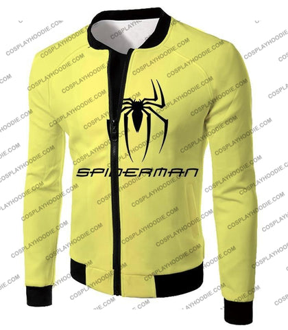 Image of Awesome Spiderman Logo Promo Yellow T-Shirt Sp123 Jacket / Us Xxs (Asian Xs)
