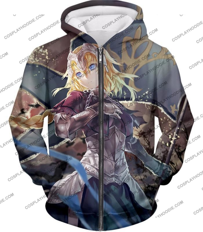 Fate Stay Night Beautiful Legend Joan Of Arc Apocrypha Action T-Shirt Fsn124 Zip Up Hoodie / Us Xxs