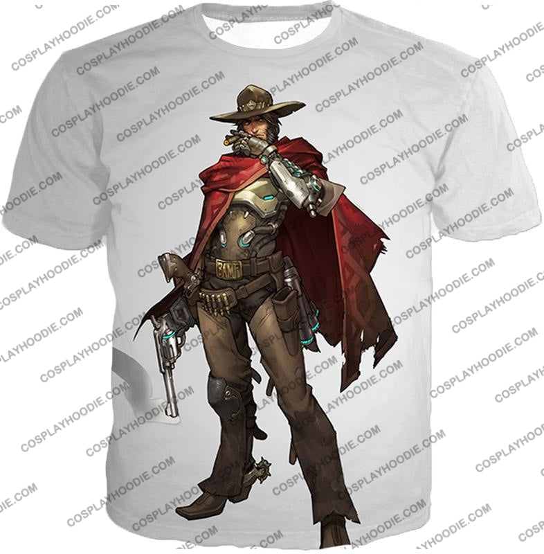 Overwatch Super Cool Gun Slinger Mccree White T-Shirt Ow126 / Us Xxs (Asian Xs)