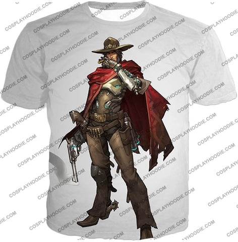 Image of Overwatch Super Cool Gun Slinger Mccree White T-Shirt Ow126 / Us Xxs (Asian Xs)