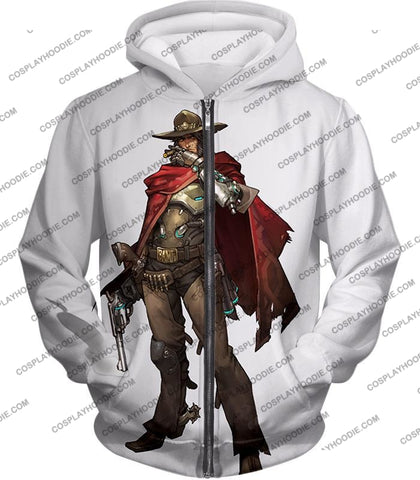 Image of Overwatch Super Cool Gun Slinger Mccree White T-Shirt Ow126 Zip Up Hoodie / Us Xxs (Asian Xs)
