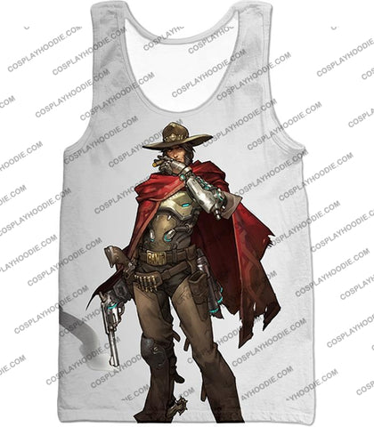 Image of Overwatch Super Cool Gun Slinger Mccree White T-Shirt Ow126 Tank Top / Us Xxs (Asian Xs)