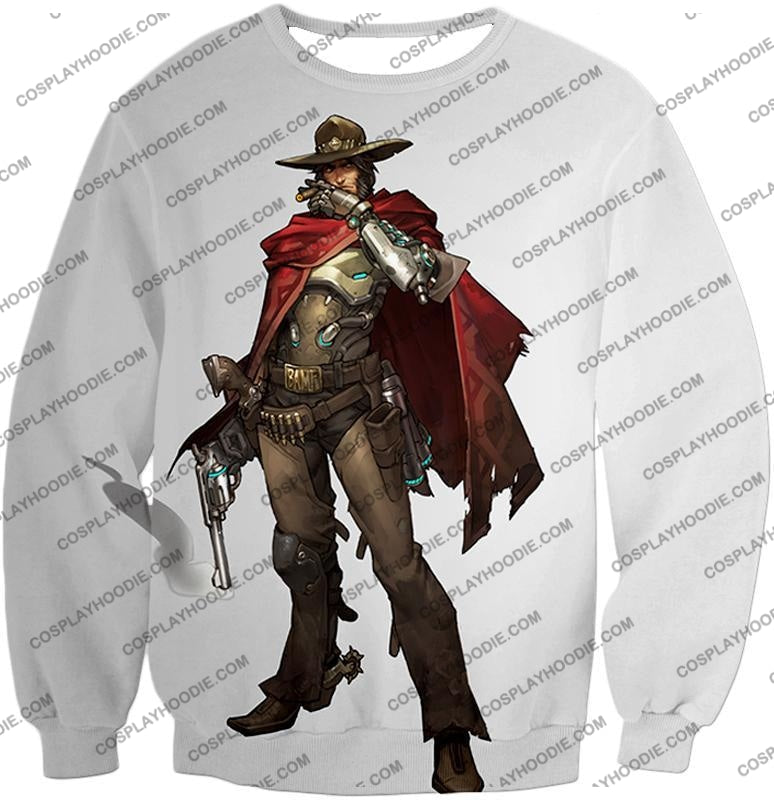 Overwatch Super Cool Gun Slinger Mccree White T-Shirt Ow126 Sweatshirt / Us Xxs (Asian Xs)