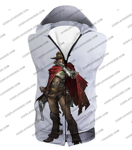 Image of Overwatch Super Cool Gun Slinger Mccree White T-Shirt Ow126 Hooded Tank Top / Us Xxs (Asian Xs)