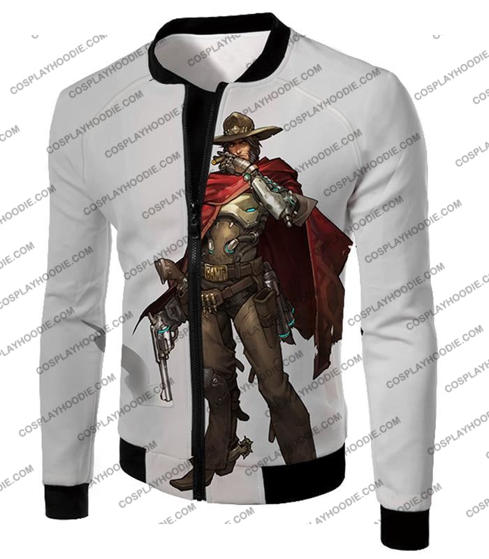 Overwatch Super Cool Gun Slinger Mccree White T-Shirt Ow126 Jacket / Us Xxs (Asian Xs)