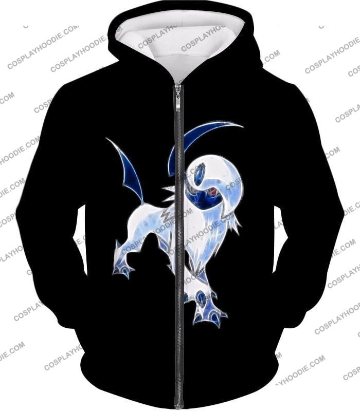 Pokemon Super Cool Disaster Absol Awesome Promo Black T-Shirt Pkm127 Zip Up Hoodie / Us Xxs (Asian